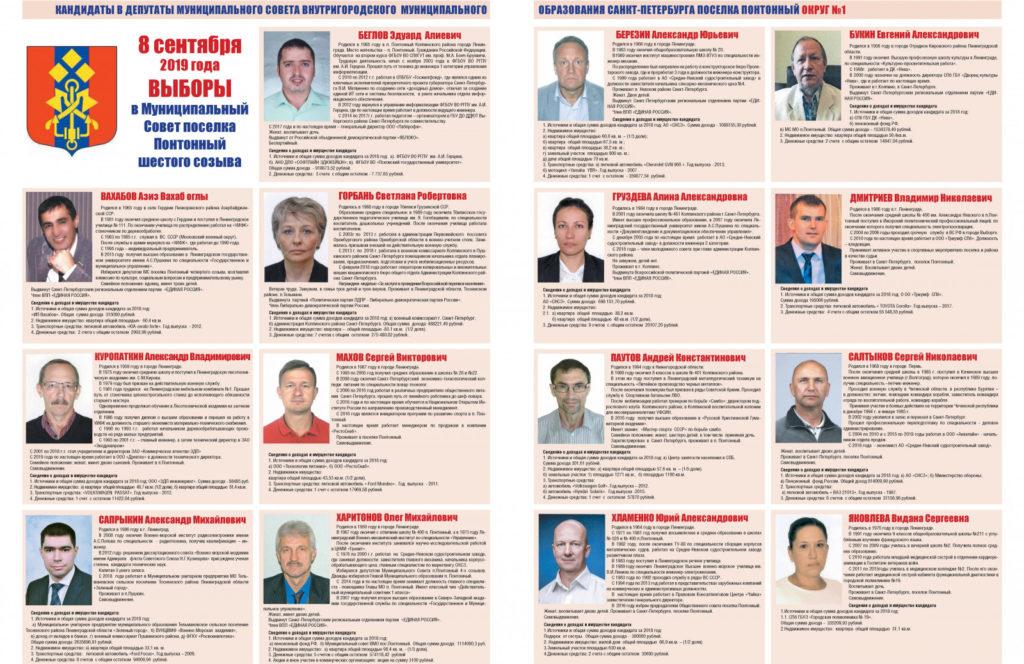 Кандидаты в депутаты Муниципального Совета внутригородского муниципального образования Санкт-Петербурга поселка Понтонный шестого созыва (Округ №1)